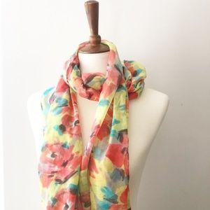 NWT JCrew Floral Light Spring Scarf Pink Yellow